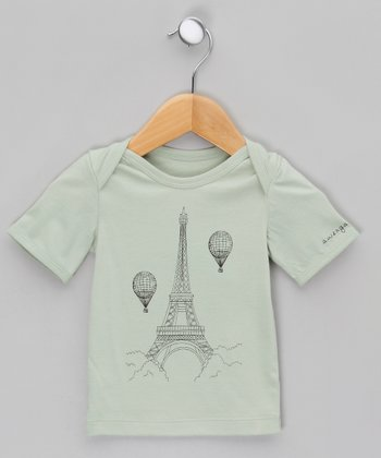 Leaf Bud Green Eiffel Tower Organic Lap Neck Tee - Infant