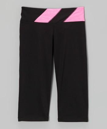 Future Star by Capezio Black & Pink Diagonal Leggings - Girls