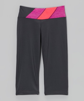 Future Star by Capezio Gray & Pink Diagonal Leggings - Girls