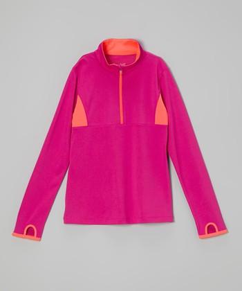 Future Star by Capezio Fuchsia & Peach Half-Zip Sweater - Girls