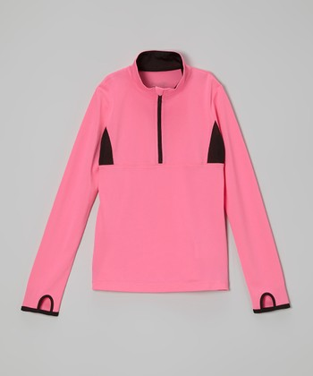Future Star by Capezio Peach & Black Half-Zip Sweater - Girls