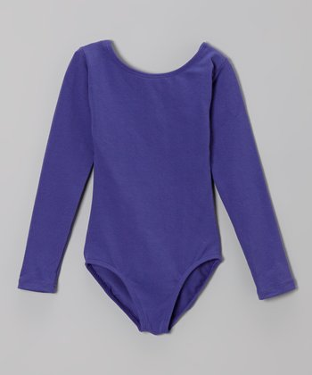 Purple Long-Sleeve Leotard - Girls
