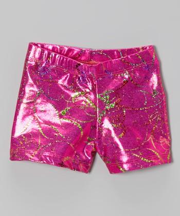 Fuchsia Metallic Splatter Shorts - Girls