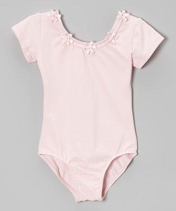 Pink Flower Short-Sleeve Leotard - Toddler & Girls