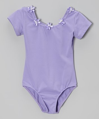 Lilac Flower Short-Sleeve Leotard - Toddler & Girls