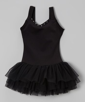 Black Rhinestone V-Neck Tutu Leotard - Toddler & Girls