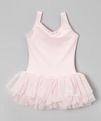 Pink Rhinestone V-Neck Tutu Leotard - Toddler & Girls
