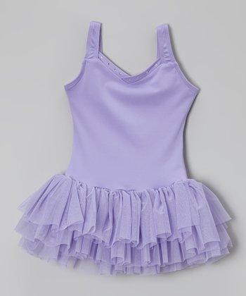 Lilac Rhinestone V-Neck Tutu Leotard - Toddler & Girls