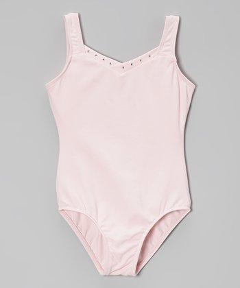Pink Rhinestone V-Neck Leotard - Toddler & Girls