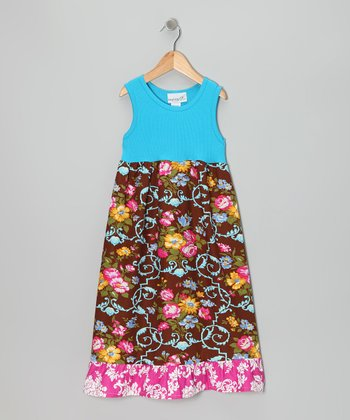 Turquoise & Brown Flower Vine Dress - Girls
