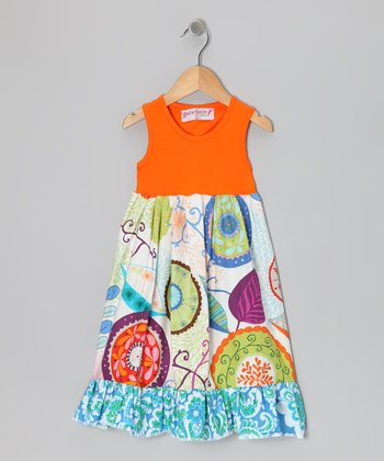 Orange Vibrant Floral Dress - Toddler & Girls