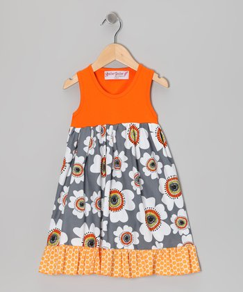 Orange & Gray Flower Dress - Toddler & Girls