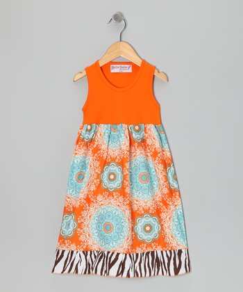 Orange & Aqua Glow Dress - Toddler