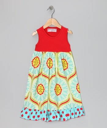 Red & Lime Dandelion Dress - Toddler & Girls