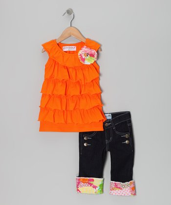 Orange Ruffle Tunic & Dark Denim Jeans - Girls