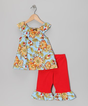 Blue Flower Tunic & Red Capri Leggings - Toddler & Girls