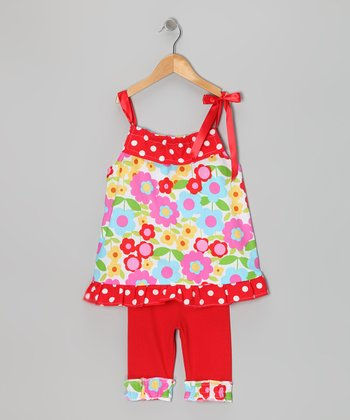 Pink Tie Tunic & Red Capri Leggings - Toddler & Girls