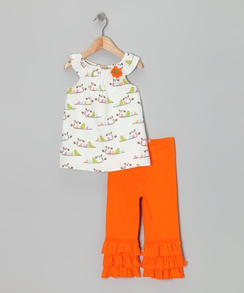 White Bird Tunic & Orange Capri Leggings - Toddler & Girls
