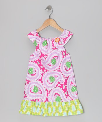 Pink & Green Peacock Dress - Toddler & Girls