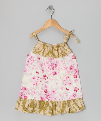 Sage & Pink Toile Dress - Toddler & Girls