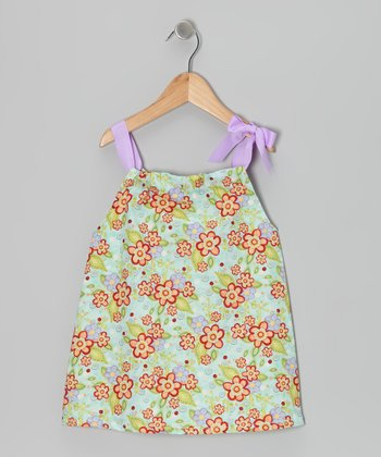 Blue & Lavender Flower Dress - Toddler & Girls