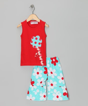 Red Flower Tank & Aqua Ruffle Pants - Toddler & Girls