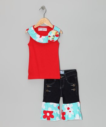Red Ruffle Tank & Denim Capri Pants - Toddler & Girls