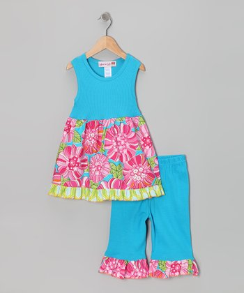Aqua Flower Tunic & Capri Leggings - Girls