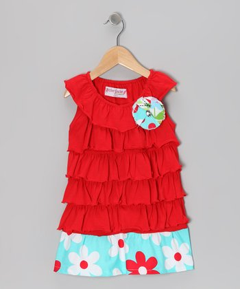 Red & Aqua Floral Ruffle Dress - Toddler & Girls