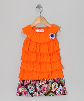Orange Paisley Ruffle Dress - Toddler & Girls