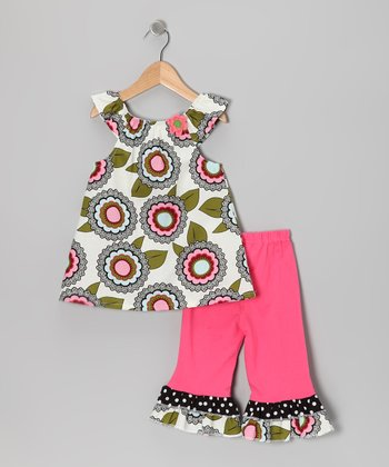 Gray Accented Tunic & Pink Capri Leggings - Toddler & Girls