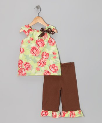 Pink Rose Tunic & Brown Capri Leggings - Toddler & Girls