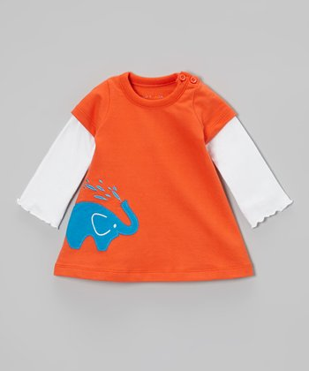 Orange Elephant Organic Layered Dress - Infant