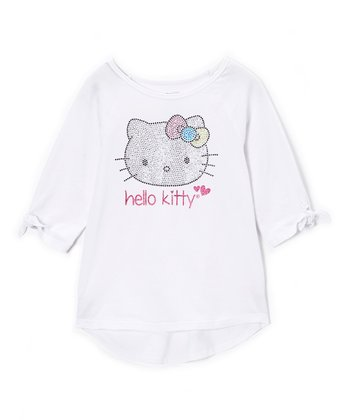 White Sequin Hello Kitty Tee - Toddler & Girls