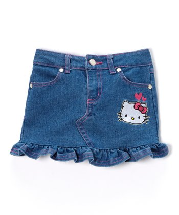 Light Denim Hello Kitty Ruffle Skirt - Toddler & Girls