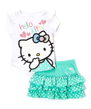White & Aqua Polka Dot Hello Kitty Tee & Skirt - Toddler & Girls