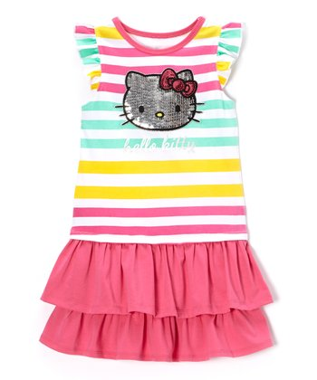 Cockatoo Stripe Ruffle Drop-Waist Dress - Toddler & Girls