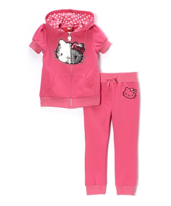 Carmine Rose Hello Kitty Zip-Up Hoodie & Pants - Toddler & Girls