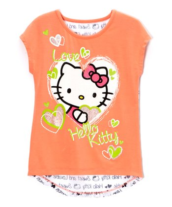Fusion & Coral 'Hello Kitty' Hearts Tee - Toddler & Girls