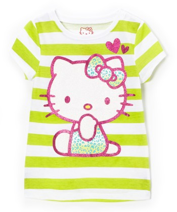 Lime Punch Stripe 'Hello Kitty' Tee - Toddler & Girls
