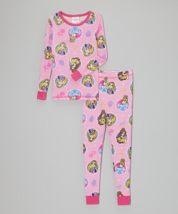Pink Belle & Rapunzel Thermal Pajama Set - Toddler & Girls