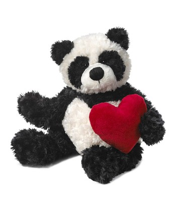 Black & White Heart Panda Plush Toy