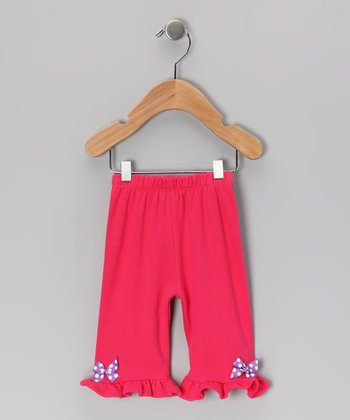 Fuchsia & Purple Polka Dot Bow Pants - Infant & Toddler