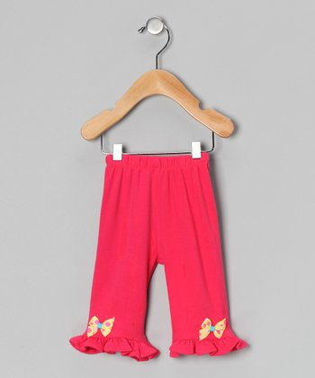 Fuchsia & Yellow Polka Dot Bow Pants