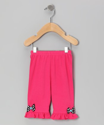 Fuchsia & Black Polka Dot Bow Pants