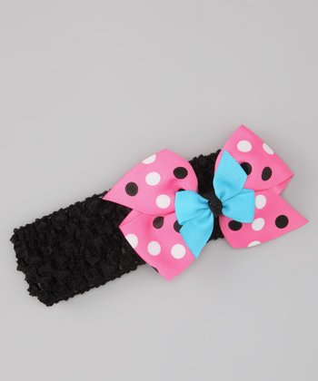 Black & Pink Polka Dot Bow Headband