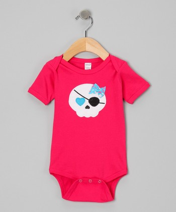 Fuchsia Pirate Skull Bodysuit - Infant