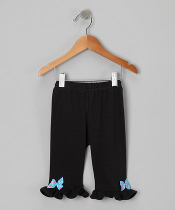 Black & Turquoise Polka Dot Bow Pants - Infant & Toddler