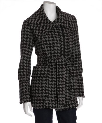 Black & Gray Houndstooth Belted Wool-Blend Coat  - Women