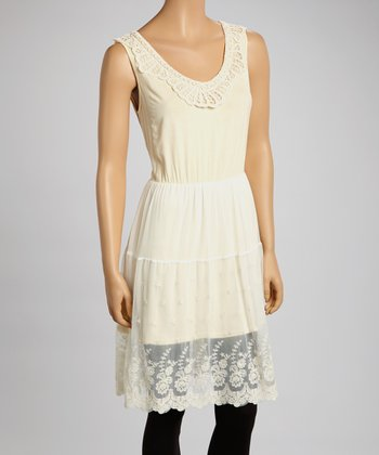 Cream Lace Sleeveless Dress - Women